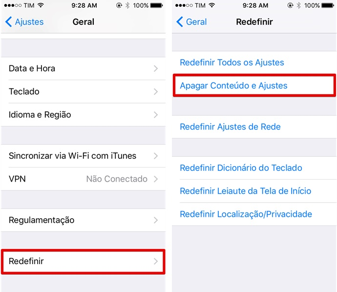 Vá até as opções de redefinição do iPhone 5C (Foto: Felipe Alencar/TechTudo)