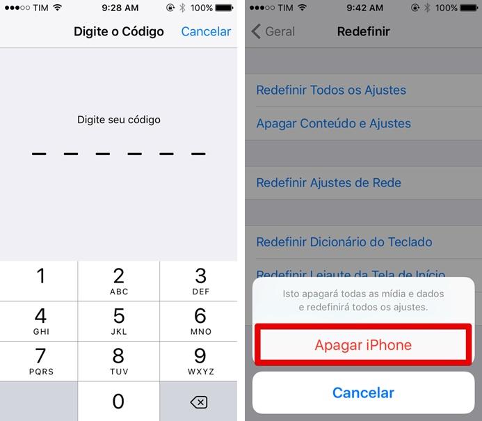 Começando o processo de reset do iPhone 5C (Foto: Felipe Alencar/TechTudo)
