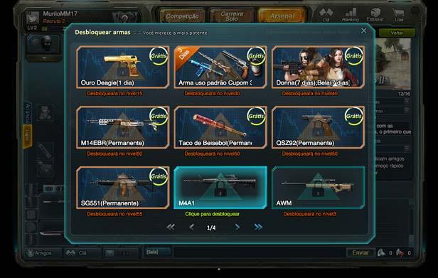 Destrave novas armas e equipamentos nos menus (Foto: Reprodução/Murilo Molina)