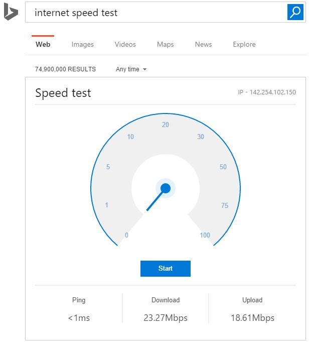 Widget mede a velocidade da conexão no Bing (Reprodução/VentureBeat)
