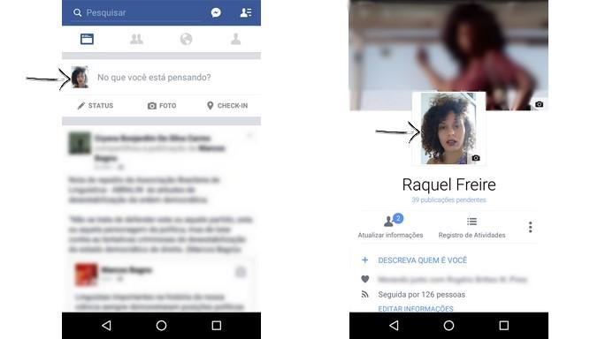 Tela inicial do app do Facebook para Android e página de perfil (Foto: Reprodução/Raquel Freire)