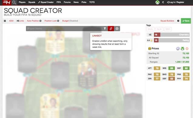 Use o botão do Linkbot para conseguir jogadores compatíveis em Fifa 16 (Foto: Reprodução/Murilo Molina)