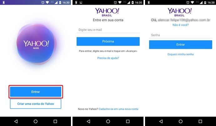 Fazendo login no app Yahoo Mail (Foto: Reprodução/Helito Bijora)