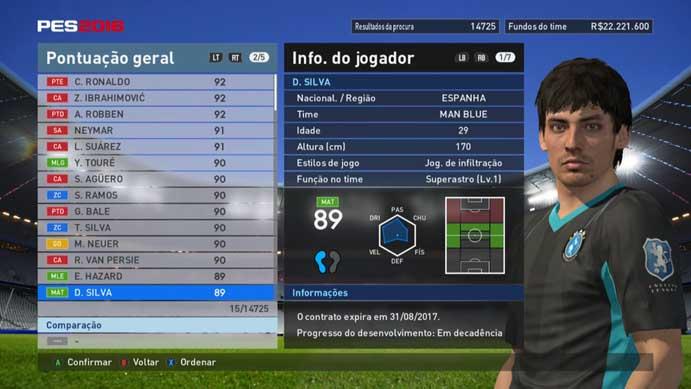 Silva é famoso por seus passes precisos em PES 2016 (Foto: Reprodução/Murilo Molina)