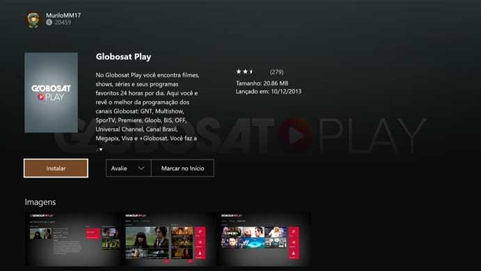 Clique em instalar no Globosat Play no Xbox One e Xbox 360 (Foto: Reprodução/Murilo Molina)