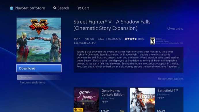 Clique em download no DLC de Street Fighter V (Foto: Reprodução ...