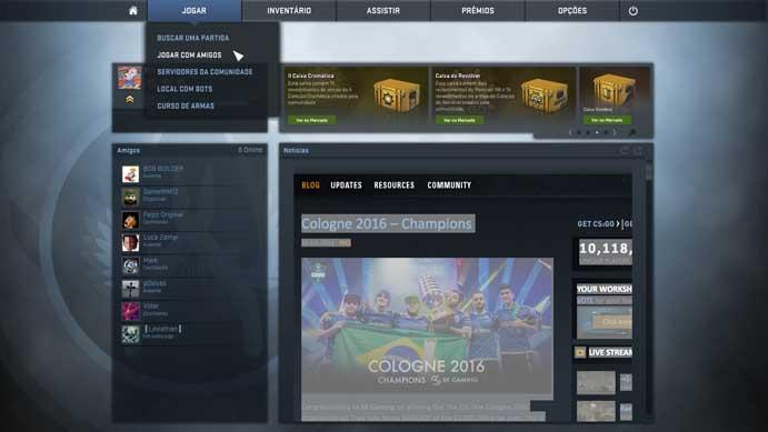 Clique em jogar com amigos no menu do Counter-Strike: Global Offensive (Foto: Reprodução/Murilo Molina)