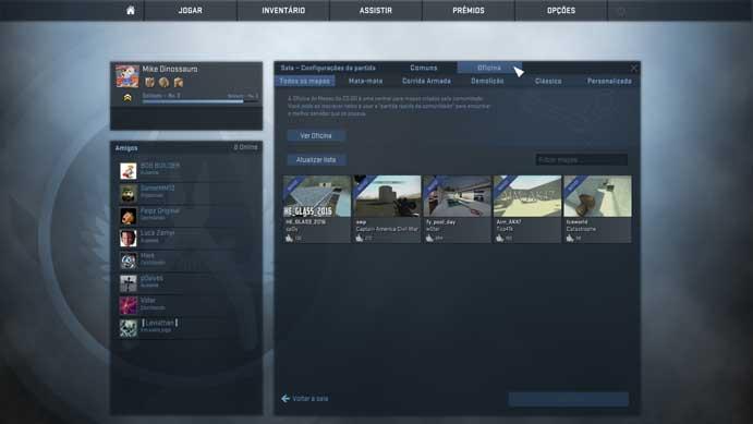 Escolha modo e mapas do Counter-Strike: Global Offensive (Foto: Reprodução/Murilo Molina)