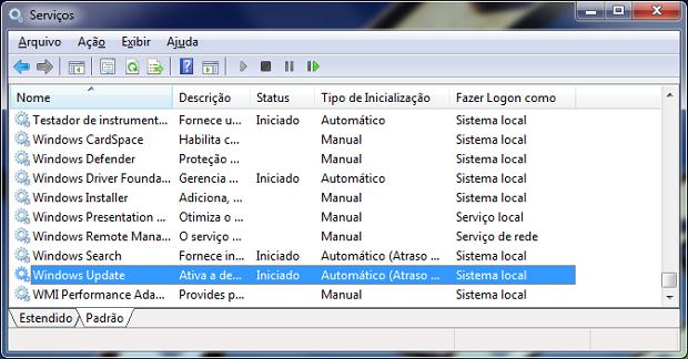 Serviço desabilitado pode impedir atualizações no Windows (Foto: Reprodução/Helito BIjora)