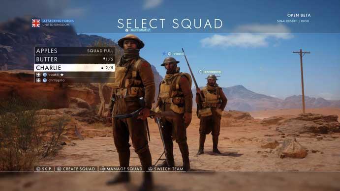 Selecione um esquadrão no Battlefield 1 (Foto: Reprodução/Murilo Molina)