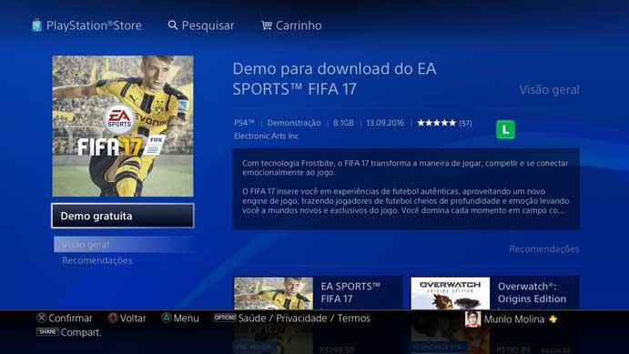 Faça o download do Fifa 17 na PSN (Foto: Reprodução/Murilo Molina)