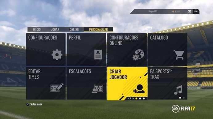 Vá até o menu indicado no Fifa 17 (Foto: Reprodução/Murilo Molina)