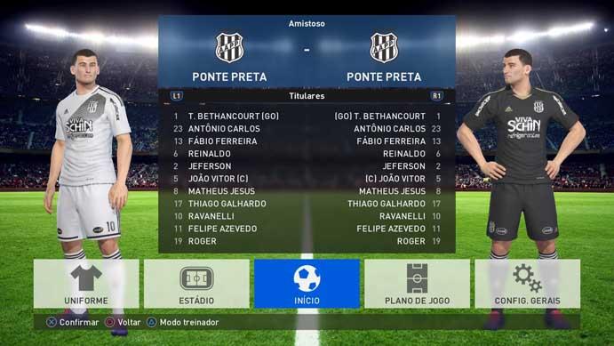 Ponte tem jogadores reais em PES 2017 (Foto: Reprodução/Murilo Molina) cruz