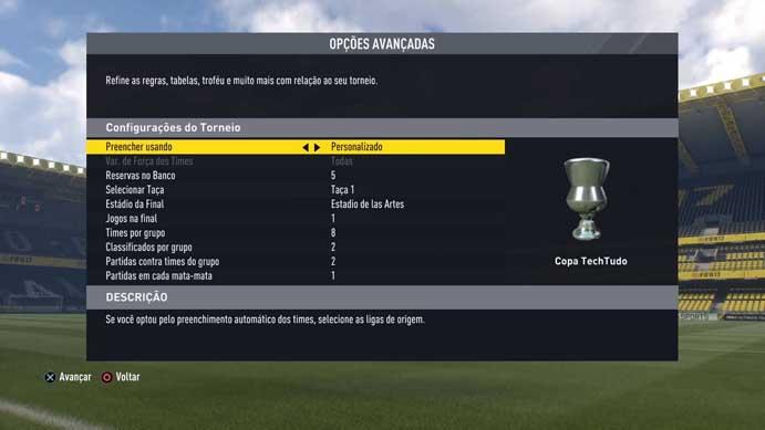 Ajuste as opções avançadas no Fifa 17 (Foto: Reprodução/Murilo Molina)