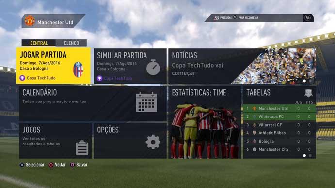 Inicie suas partidas pelo menu do torneio de Fifa 17 (Foto: Reprodução/Murilo Molina)