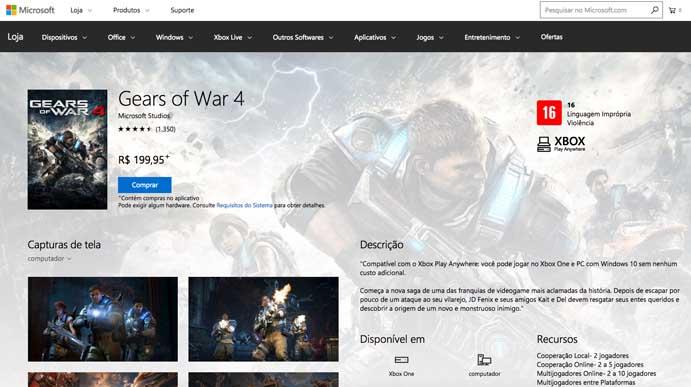Compre o Gears of War 4 no PC (Foto: Reprodução/Murilo Molina)