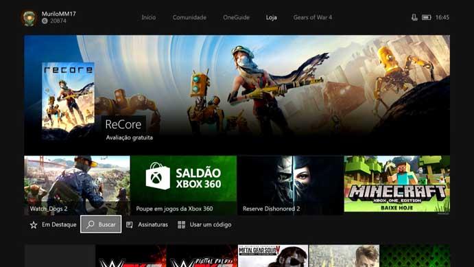 Busque Gears of War 4 na loja do Xbox One (Foto: Reprodução/Murilo Molina)