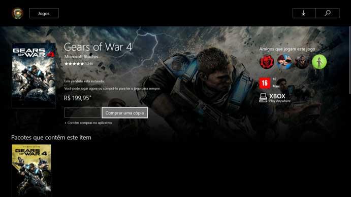Compre o Gears of War 4 na loja do Xbox One (Foto: Reprodução/Murilo Molina)