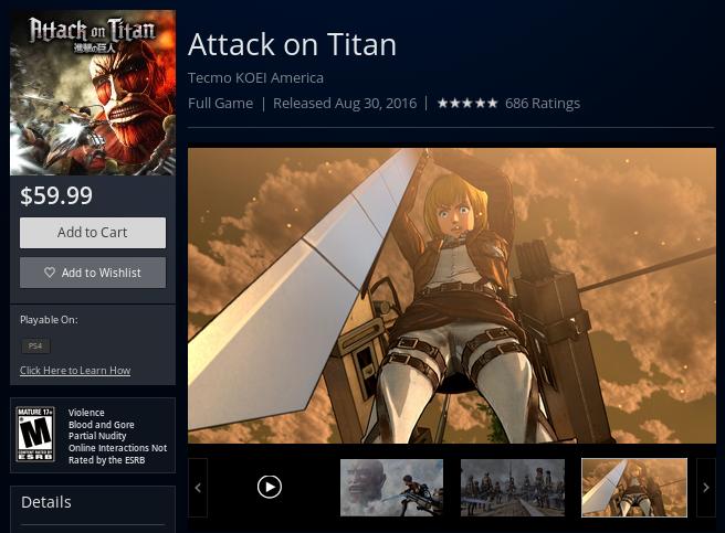 Página de Attack on Titan na PlayStation Store (Foto: Reprodução/PlayStation Store)