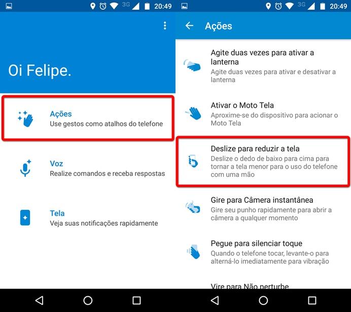 Acesse a função Deslize para reduzir a tela (Foto: Felipe Alencar/TechTudo)