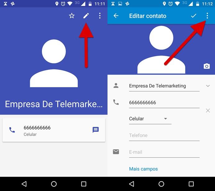 Editando as informações do contato (Foto: Reprodução/Helito Bijora)