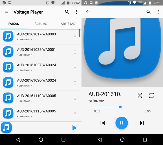 Voltage Music Player possui integração com o Google Play Música (Foto: Reprodução/Helito Bijora)