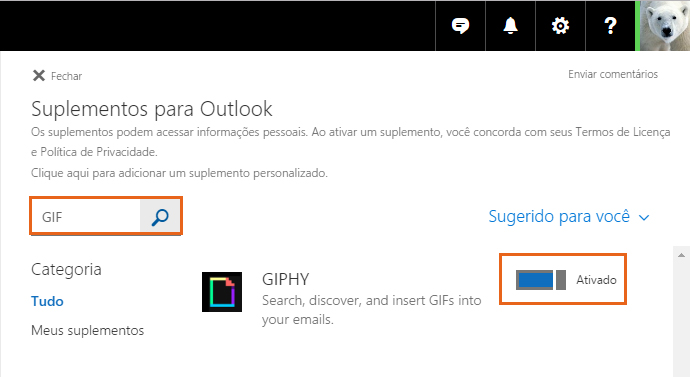Ative o recurso de Giphy no Outlook.com (Foto: Reprodução/Barbara Mannara)
