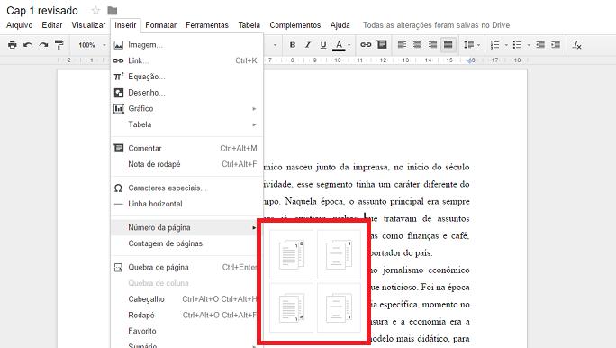 Escolha em que local a página a numeração ficará no Google Docs