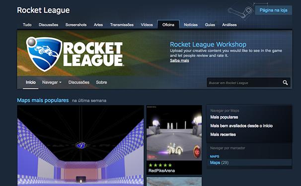 Clique nos mapas do Rocket League (Foto: Reprodução/Murilo Molina)