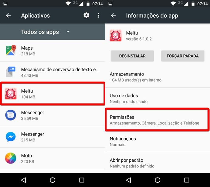 Acessando a tela de permissões do app Meitu (Foto: Felipe Alencar/TechTudo)
