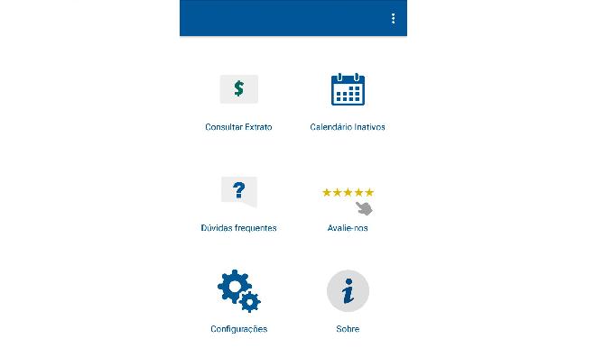 Opções de recursos do aplicativo FGTS (Reprodução/Luana Marfim)