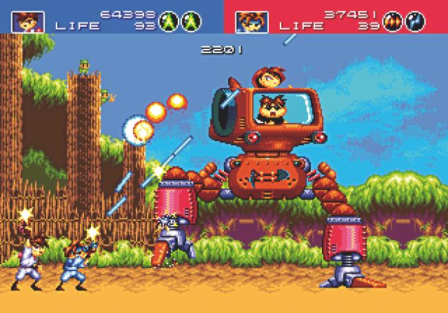 Luta contra chefe em Gunstar Heroes (Foto: Reprodução/RetroGamer)