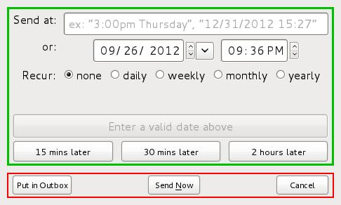 O menu permite selecionar outro horário para o envio da mensagem. (Foto: Divulgação / Send Later)