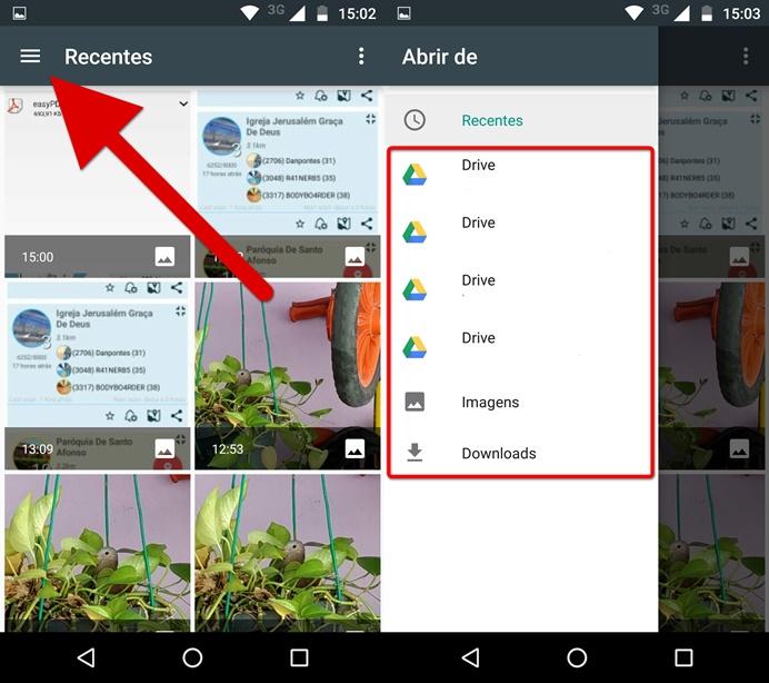 Acessando os arquivos salvos no Google Drive (Foto: Felipe Alencar/TechTudo)