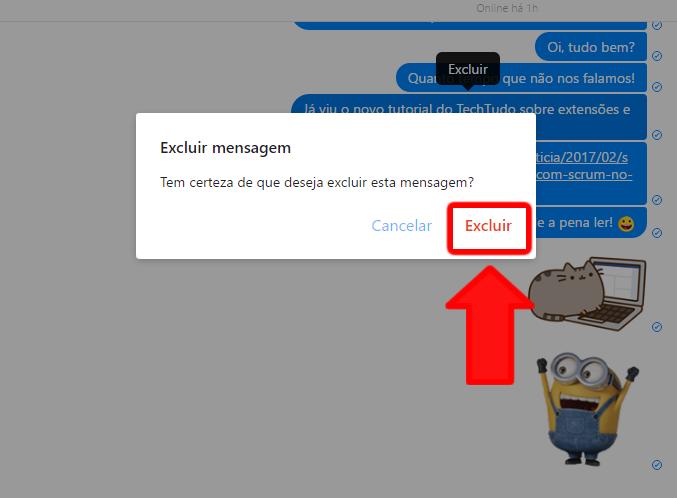 As mensagens não podem ser recuperadas após apagadas. (Foto: Reprodução / Gabriel Galli)