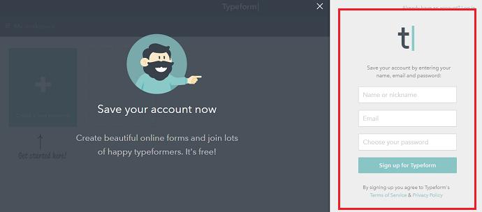 Criando uma conta no TypeForm (Foto: Reprodução/Luana Marfim)
