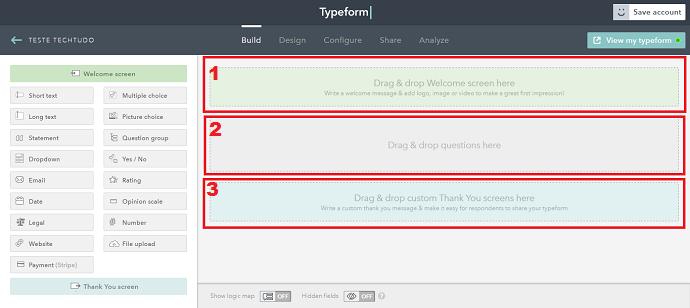 Criando um formulário no TypeForm (Foto: Reprodução/Luana Marfim)