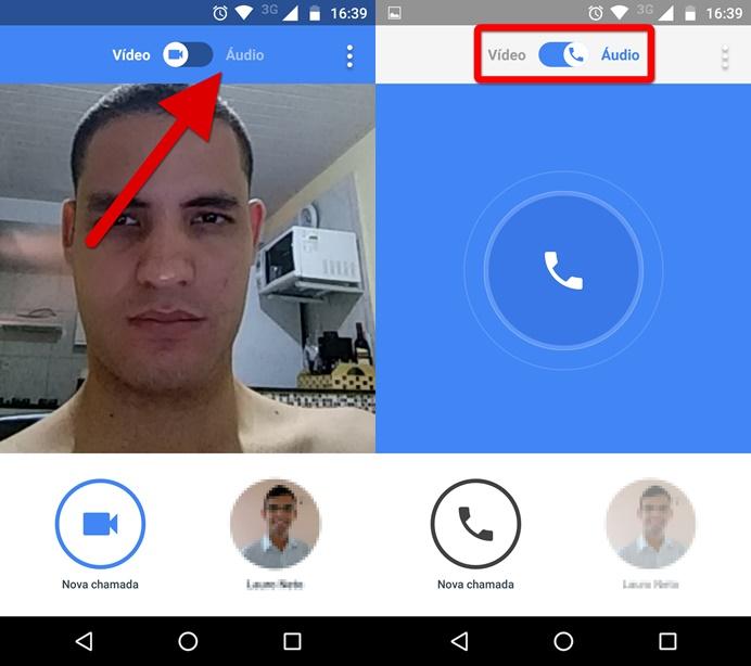 Alternando para o modo chamada de áudio do Google Duo (Foto: Felipe Alencar/TechTudo)