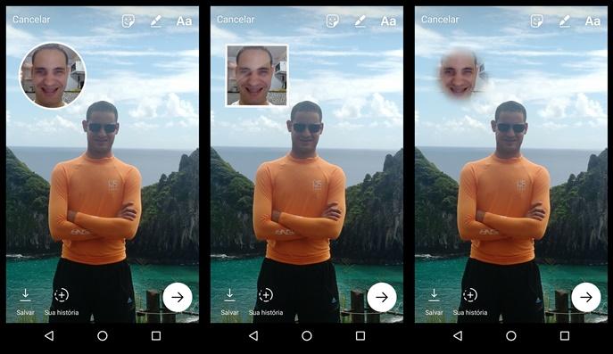 Mudando as bordas do selfie sticker (Foto: Felipe Alencar/TechTudo)