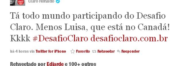 ronaldo fala de Luíza no twitter (Foto: Reprodução / Twitter)