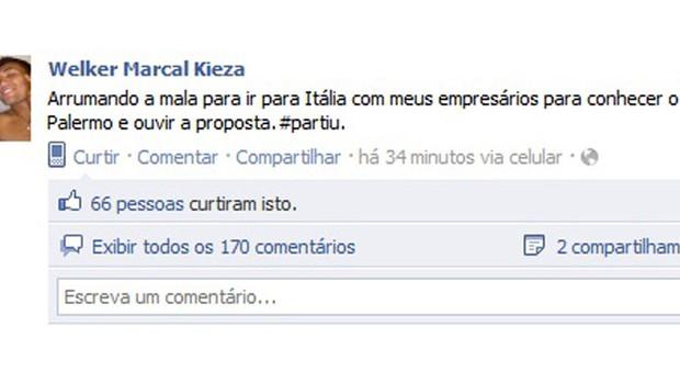 Kieza indo pra Itália (Foto: Facebook)