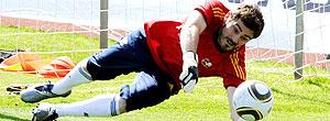 Iker Casillas no treino da Espanha