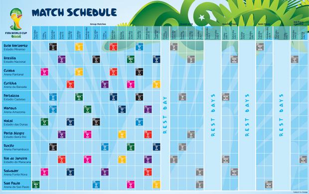 Tabela da Copa do Mundo (Foto: Divulgação/Site da Fifa)