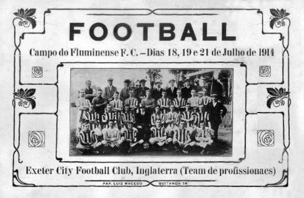 Cartaz da partida Brasil x Exeter, em 1914 (Foto: Livro oficial da CBF)
