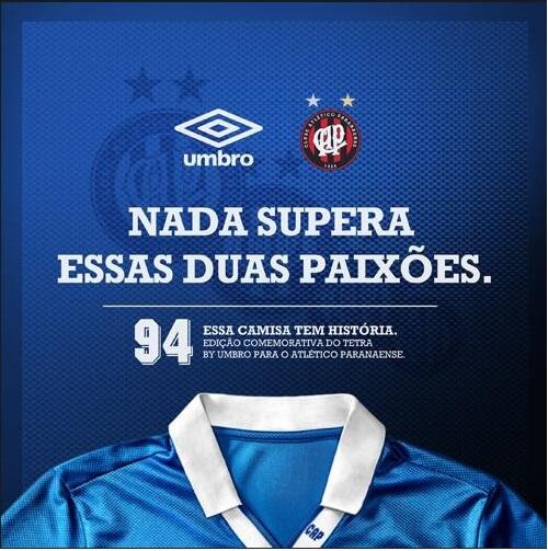 Atlético-PR vai jogar de camisa azul em homenagem ao tetra da Seleção  d1449fb824651