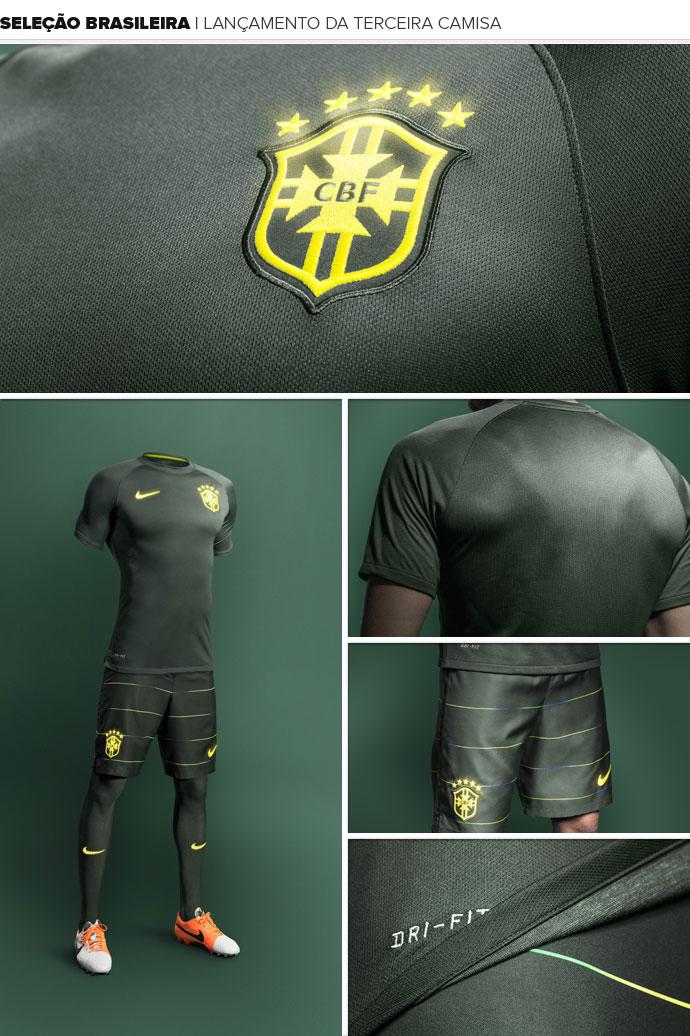 6cd27bb120461 Fornecedora lança terceira camisa da seleção brasileira a R  349