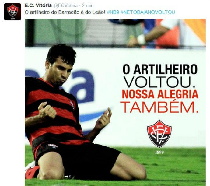 9392a997d7e52 Vitória anuncia contratação de Neto Baiano