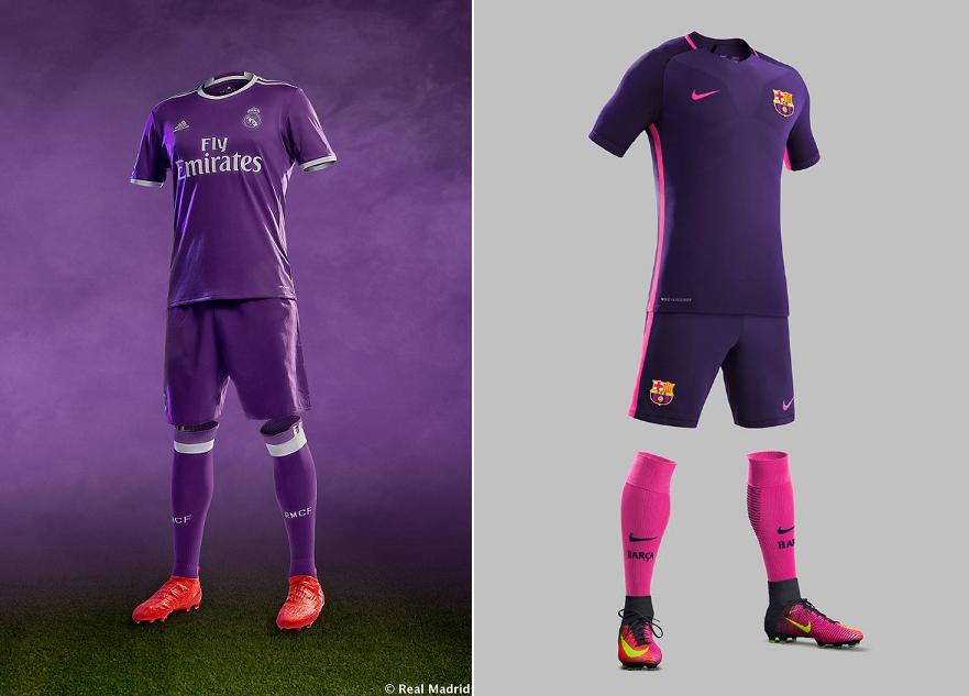 ac766c7a5214a Real e Barcelona apostam no roxo em segundo uniforme para 2015 16
