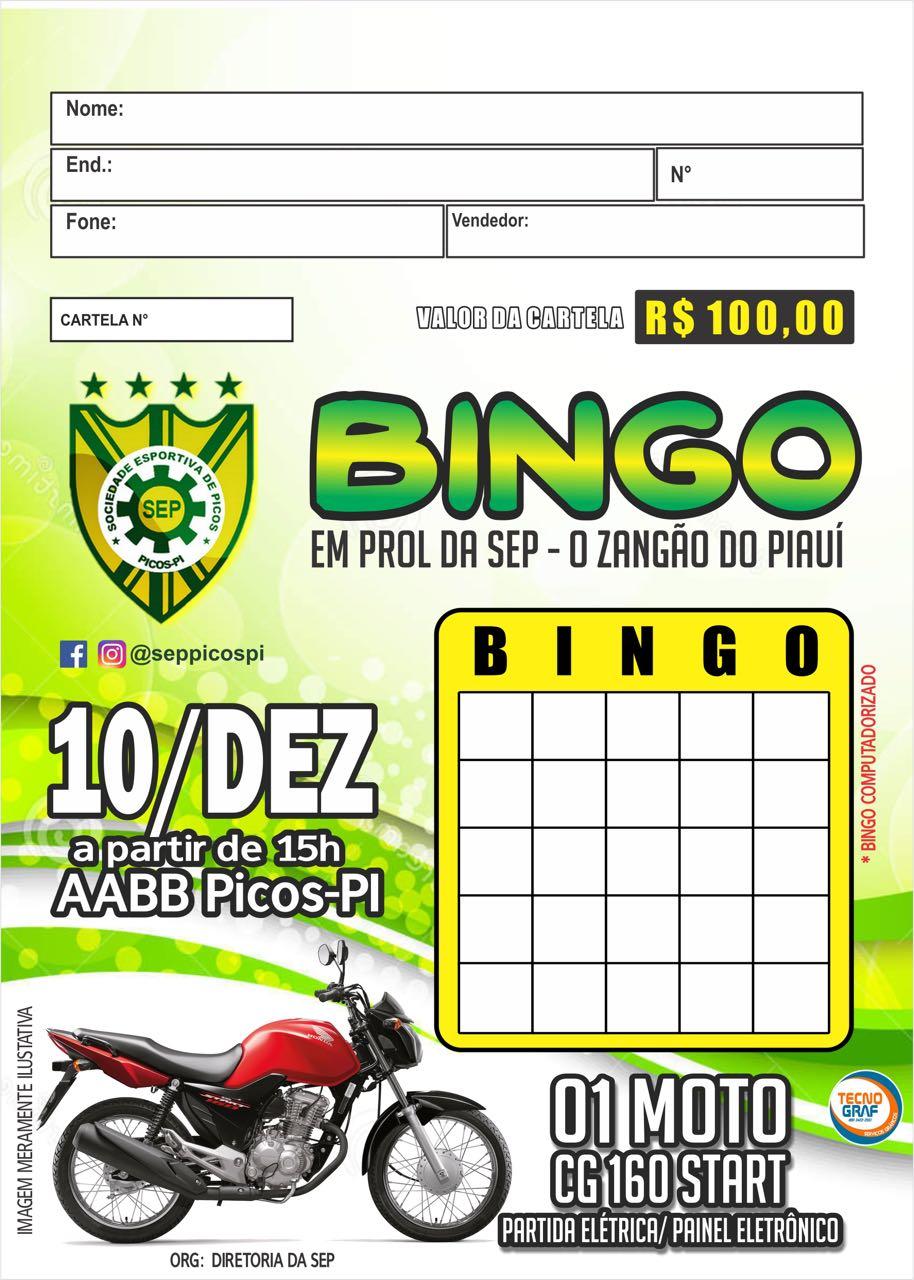 Picos lança bingo e vende cartela a R  100 para pagar despesas do clube cc0bd29d8e763