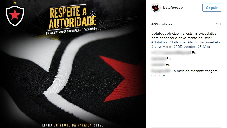 Botafogo-PB dá pistas da nova camisa do clube para a temporada de 2017 c2e4c9c5d384a